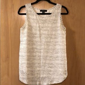 Knit top with white back panel